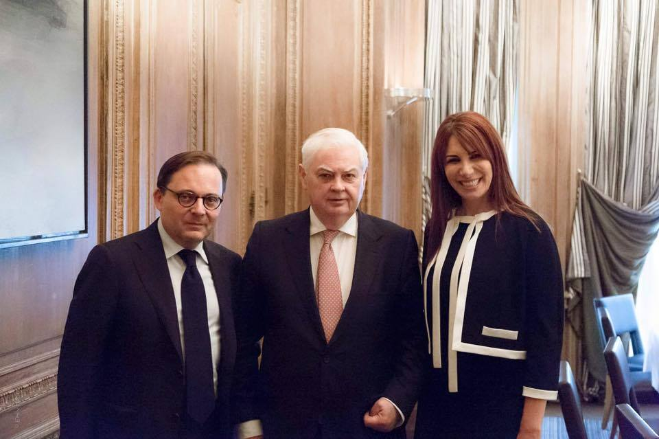 Randa-Kassis-with-Lord-Lord-Norman-Lamont-former-Chancellor-of-the-Exchequer-in-U.K-and-Fabien-Baussart-President-of-CPFA.-Paris-Jun-3th